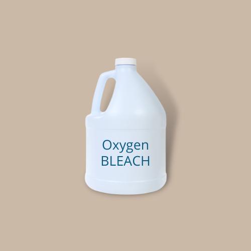 bottle of oxygen bleach against brown background