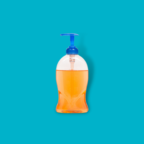 hand soap against blue background
