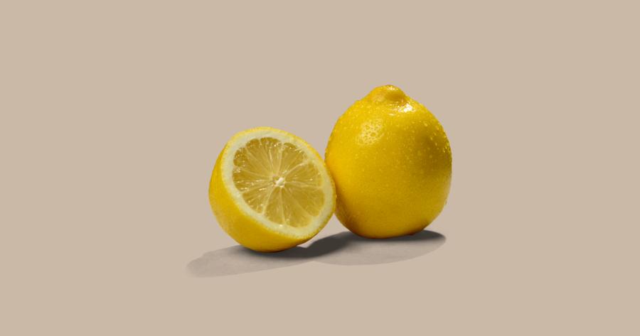 lemons against brown background