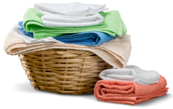towels on the floor and laundry basket